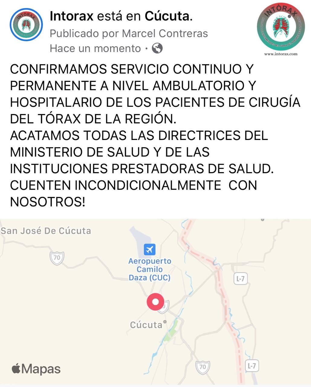CONFIRMAMOS SERVICIO CONTINUO Y  PERMANENTE A NIVEL AMBULATORIO Y HOSPITALARIO DE LOS PACIENTES DE CIRUGÍA DEL TÓRAX DE LA REGIÓN.  ACATAMOS TODAS LAS DIRECTRICES DEL MINISTERIO DE SALUD Y DE LAS INSTITUCIONES PRESTADORAS DE SALUD.  CUENTEN INCONDICIONALMENTE  CON NOSOTROS!