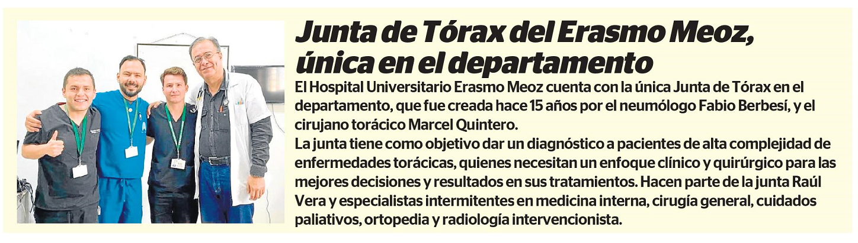 JUNTA DE TÓRAX DEL ERASMO MEOZ, ÚNICA EN EL DEPARTAMENTO!