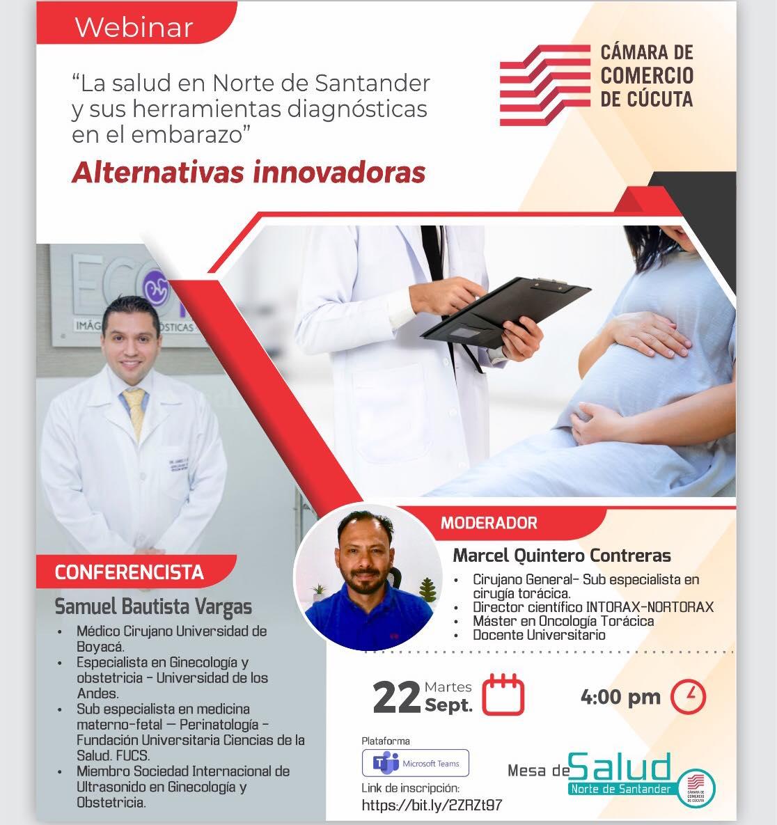 """Este martes 22 de septiembre a las 4:00 PM tendremos el webinar: """"La Salud en Norte de Santander y sus herramientas diagnósticas en el Embarazo"""" Alternativas Innovadoras. Regístrate: https://bit.ly/2ZRZt97"""