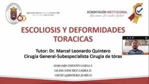 """SEMINARIO: """"ESCOLIOSIS Y DEFORMIDADES TORÁCICAS"""" con la Invitación del Dr Carlos Mora, Neurocirujano. Estudiantes VIII Semestre UPA. 5/10/2020."""