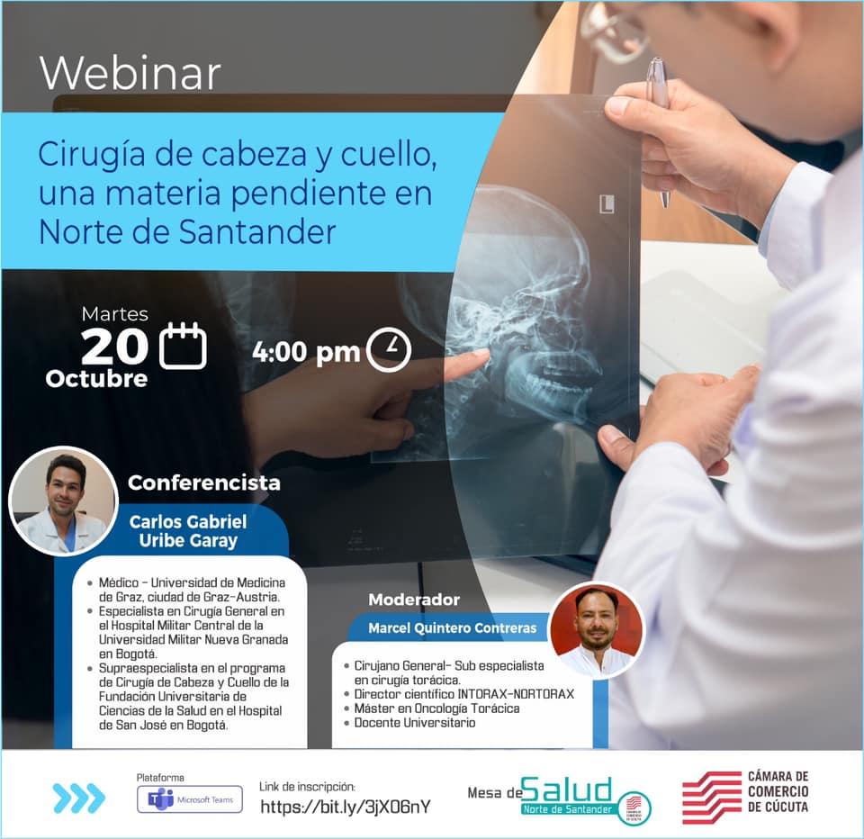Nuestra Mesa de Salud tiene todo listo para su webinar sobre Cirugía de Cabeza y Cuello, analizando sus implicaciones en Norte de Santander con un panel experto. Te esperamos este martes 20 de octubre a las 4:00 p.m.