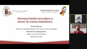"SEMINARIO:""HEMOPERICARDIO SECUNDARIO A CÁNCER DE MAMA METÁSTASICO"". Estudiantes VIII Semestre UPA. 9/11/2020"